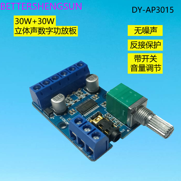 30Wx2 High Power Stereo Digital Power Amplifier Board 12V/24V Power Supply DIY Power Amplifier Module DY-AP3015