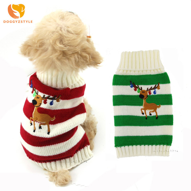 Christmas Reindeer Pet Cat Dog Sweater Striped Puppy Knit Coat Warm Small Dogs Clothes for chihuahua teddy Costume DOGGYZSTYLE