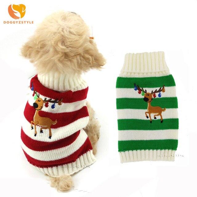 Navidad Reno mascota gato perro suéter a rayas cachorro abrigo de punto cálido pequeños perros ropa para chihuahua disfraz de peluche DOGGYZSTYLE