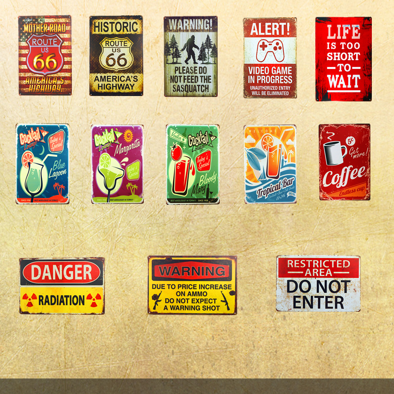 Vintage Tin signs Warning Gun Signs Route 66 Cocktail Coffee Retro Art Poster Plate Beer Garage Pub Bar Home Wall Decor