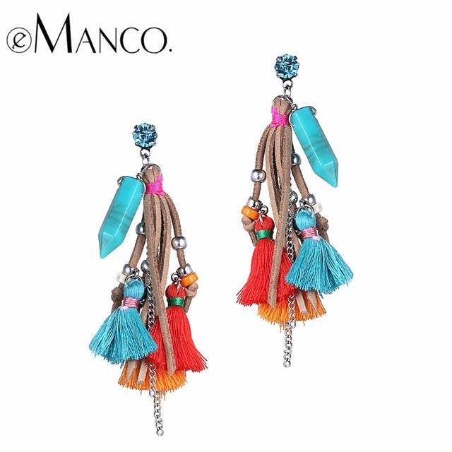 eManco tassel earrings for women hanging bohemian red drop earrings jewelry 2017 multicolor fringe boho dangle earring jewellery