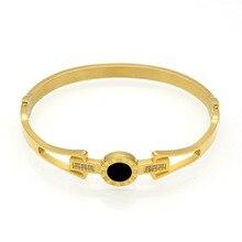 Luxury Korean Opening Titanium Steel Bangles Crystal 18 K Rose Gold White Gold Bangles Roman Numerals Women's Bracelet