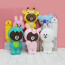 Creative Cute Silicone Pencil Bag DIY Toys Kawaii Stationery Cartoon Children Case Brown Bear Rabbit Koala Figure