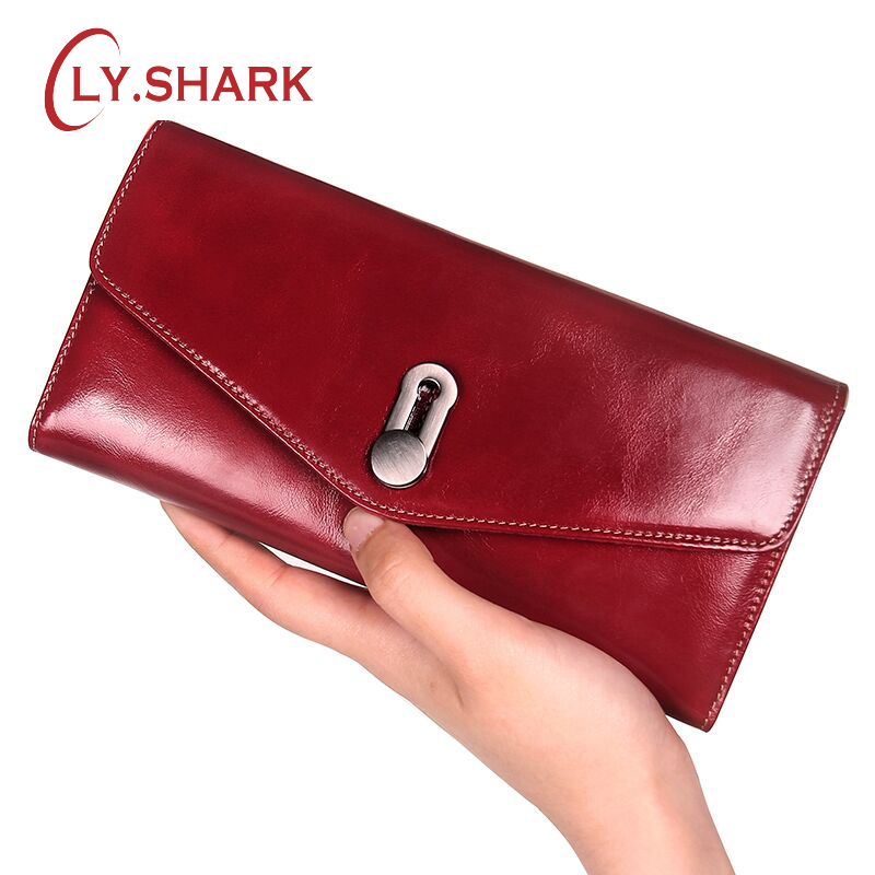 LY.SHARK Brand Design Coin Purse Genuine Leather Women Wallets Female Card Holder Long Lady Clutch Wallet With Phone Pockets Red
