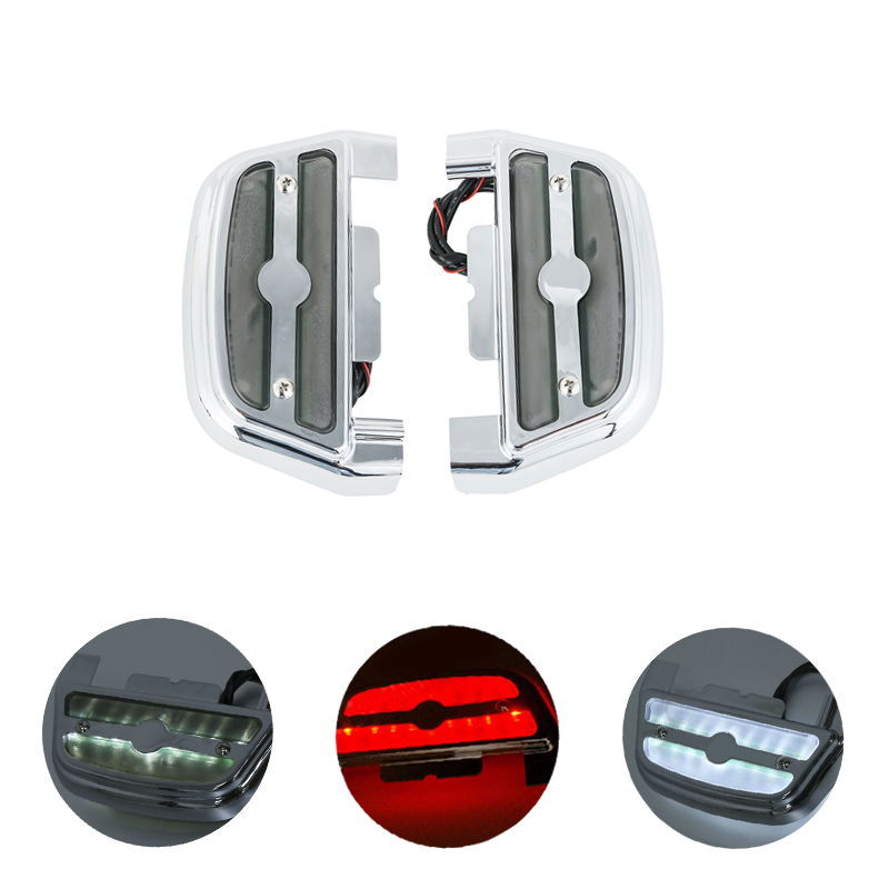 Motorcycle LED Passenger Footboard Floorboard Cover For Harley Touring Electra Glide Road King Dyna Softail FLHR Smoke Clear Red недорго, оригинальная цена
