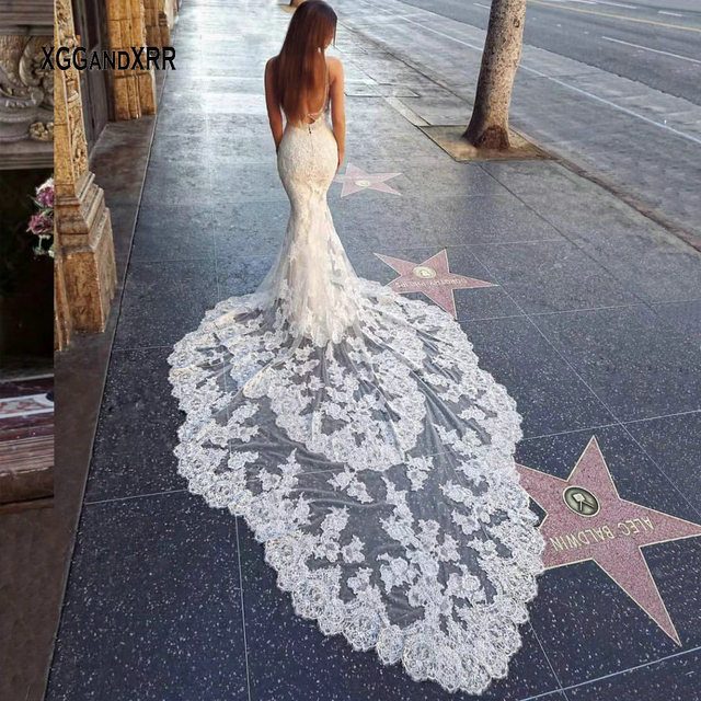 Romantic Mermaid Lace Wedding Dresses 2019 Luxury Sexy Open Back Sweetheart Spaghetti Straps Bridal Gown Two Layers Long Train