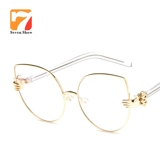 58aed7c2458 Fashion Cat Eye Optical Eye Glasses Women Clear Lens Big Metal prescription  Glasses Frame Retro Goggle Eyeglasses