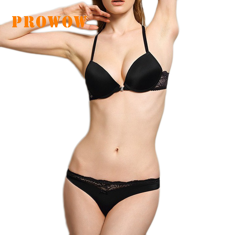 Prowow Sexy Lace   Bra   Suit Front Button Seamless Ladies Underwear Front Closed Push Up Brassiere Panties Sexy Underwire   Bra     Set
