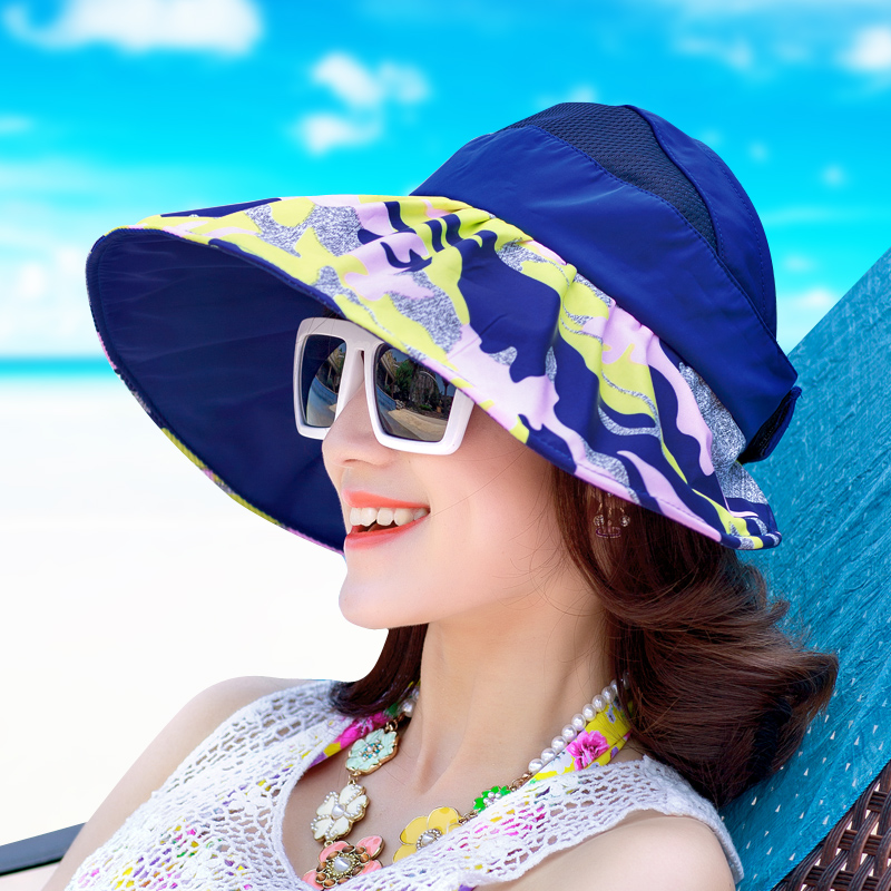 New Brand Summer Ladies Sun Hat Anti-ultraviolet Spring Canvas Folding Beach Hat For Girls
