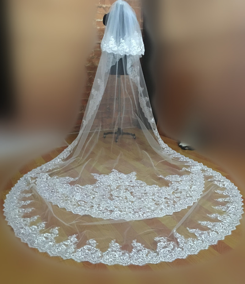 Most Popular 3 Meters Long Wedding Veils with Comb 2018 Church Bridal Velo Vail Accessories Floral Lace 2 Tier Cathedral Length