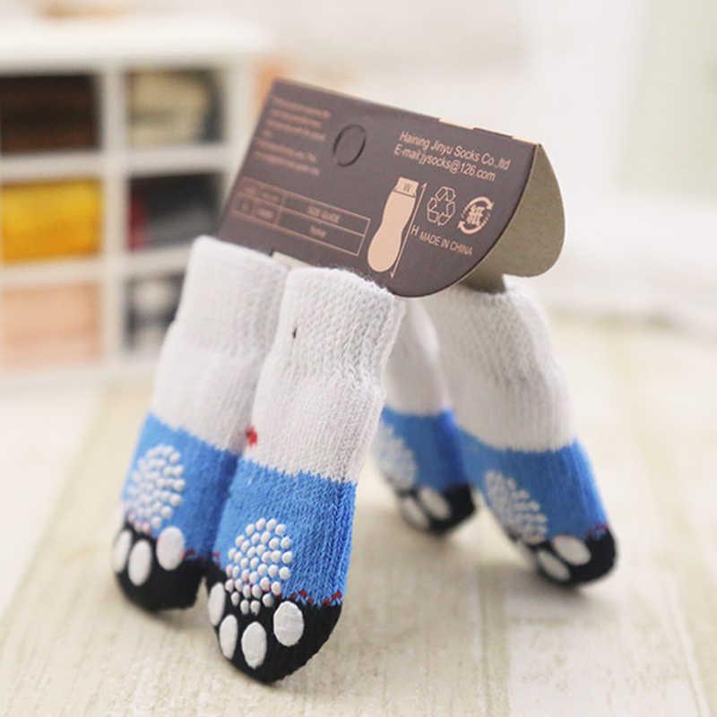 Mooie Pet Fashion Huisdieren Honden Sokken 4 Stuks Leuke Puppy Honden Pet Knits Sokken Anti Slip Skid Bottom