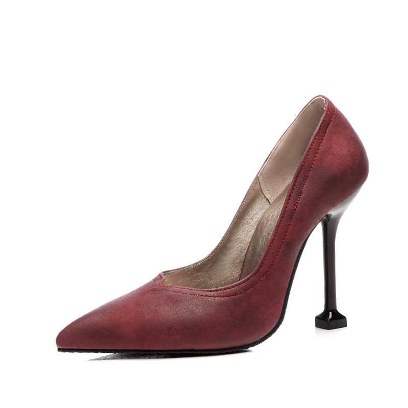 Фото Новые модные женские тонкие туфли из PU искусственной кожи с острым носком на
