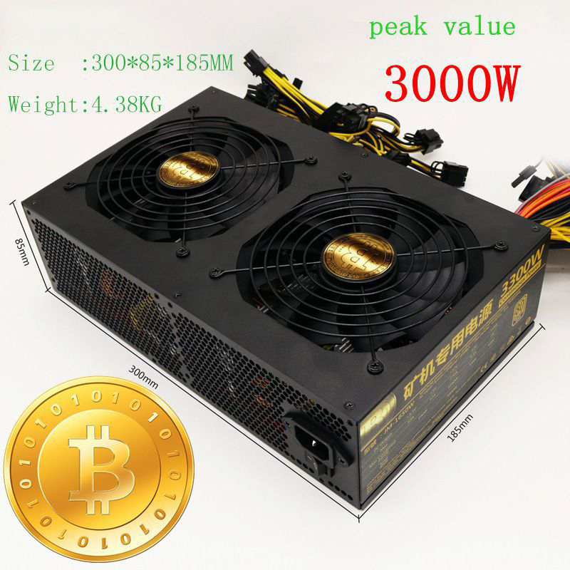 Asic Bitcoin Miner Ethereum Miner 3000W Sever Power Supply For R9 380 390 RX 470 480