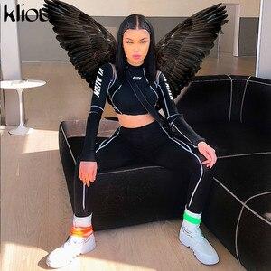 Image 2 - Kliou, conjunto deportivo de dos piezas para mujeres, leggins con cuello de tortuga con estampado de letras, top, leggings a rayas de almazuela, chándales de moda 2019 2 uds