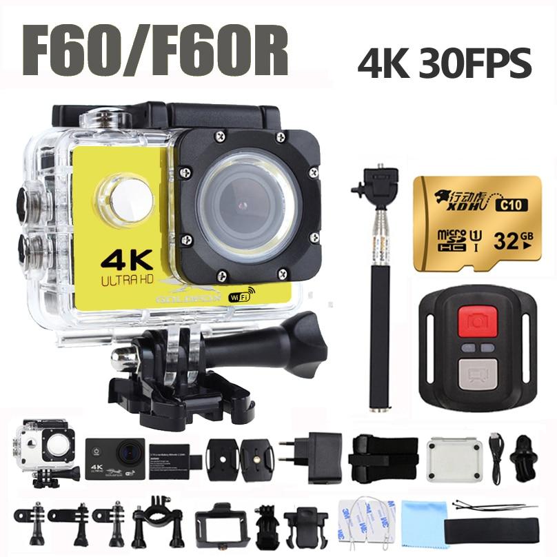 Goldfox H9 Стиль Спорт Действие камера Ultra HD 4 К Wi-Fi 1080 P 170D Широкий Ангел объектива Водонепроницаемый велосипед шлем cam мини видеокамера