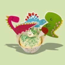 24pcs dinosaur Happy Birthday Cupcake Cake Topper Cake Flags Baby Shower Birthday Party Decoration Cake Baking Party Supplies 1set plush ball garland happy birthday cake topper for kids birthday party baby shower cake decoration flags party supplies