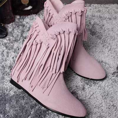 ФОТО new arrival fashion autumn winter real leather suede pointed flat heels height increasing tassel martine botas women boots S2724