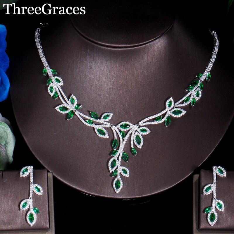 Boucles d'oreilles en cristal de zircon cubique à trois feuilles élégantes vert Long collier de bijoux de Costume pour femmes JS181