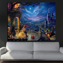 Thomas Kinkade Beauty And The Beast HD Canvas Painting Living Room Home Decoration Modern Wall Art Oil Posters Pictures