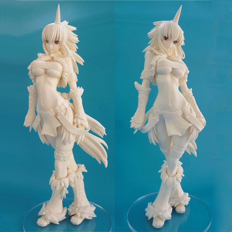 27CM Monster Hunter Unicorn GK GARAGE KIT <font><b>Sexy</b></font> Girl White Model <font><b>1/4</b></font> GK Resin Model Doll Action <font><b>Figure</b></font> Collection Model Toys image