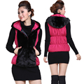 autumn and winter 2017 womens plus size with a hood down cotton faux fur vest women vests woman waistcoat free shipping