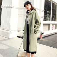 Ailegogo Women Single Breasted Lace Up Medium Long Coat Winter Loose Fit Polo Collar Yellow Green Black Outwear Female