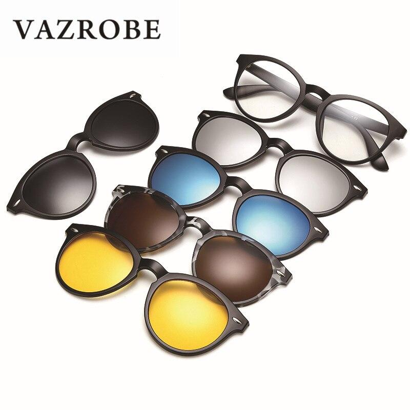 Vazrobe 5 Lens Clip on Polarized Sunglasses Men Women Round TR90 Frame Sun Glasses for Day Night Driving Anti Glare Diopter