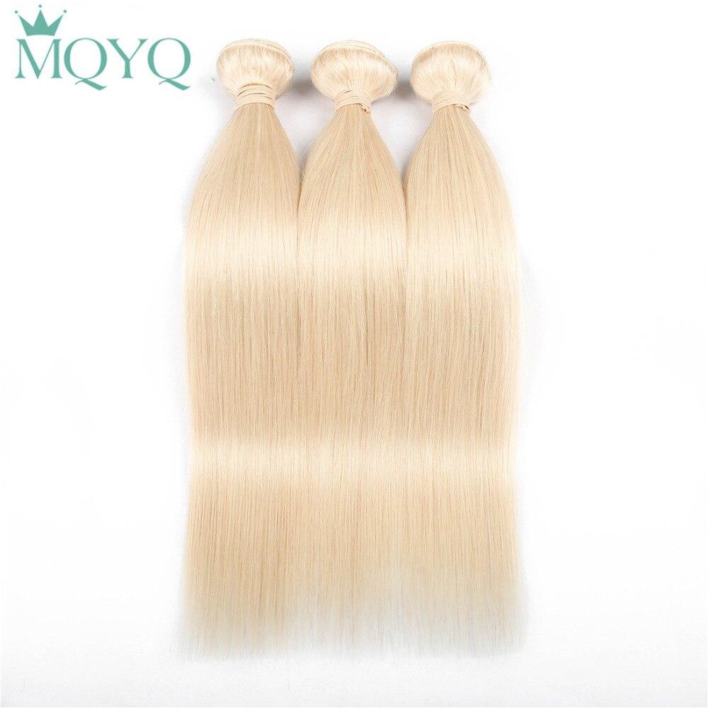 Mqyq 613 Мёд светлые волосы утка прямые волосы пучки 100% Человеческие волосы Weave Связки перуанский Remy Инструменты для завивки волос
