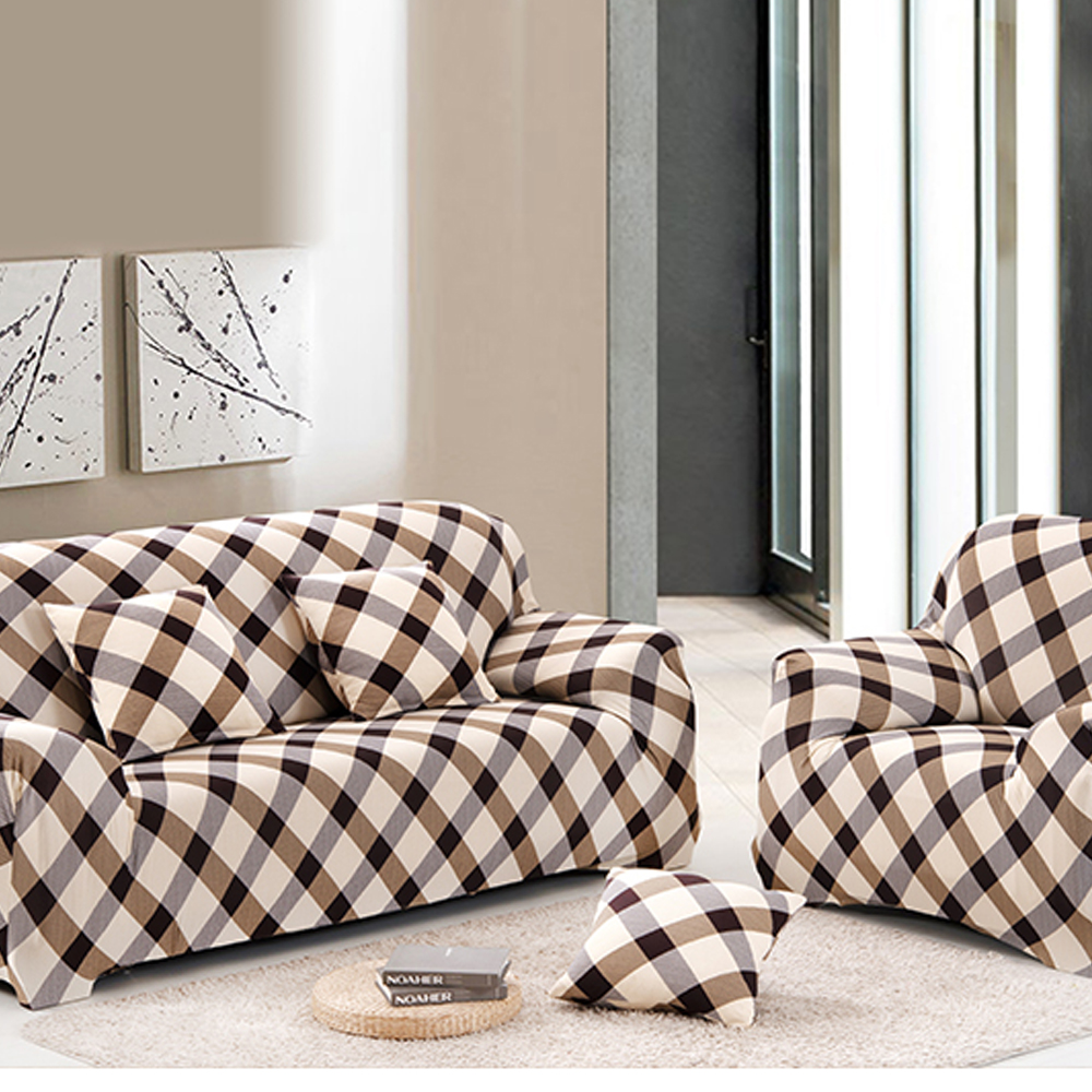 Yazi Country Style Brown Grid Stretch Single Double Three Seater Sofa Couch  Slipcover Furniture Protector Cover 1 2 3 Seater