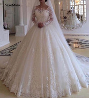 Vintage Ball Gowns For Wedding with Lace Appliques Puffy Lace Up Back Long Sleeves Customized Wedding Dresses Vestidos De Novia