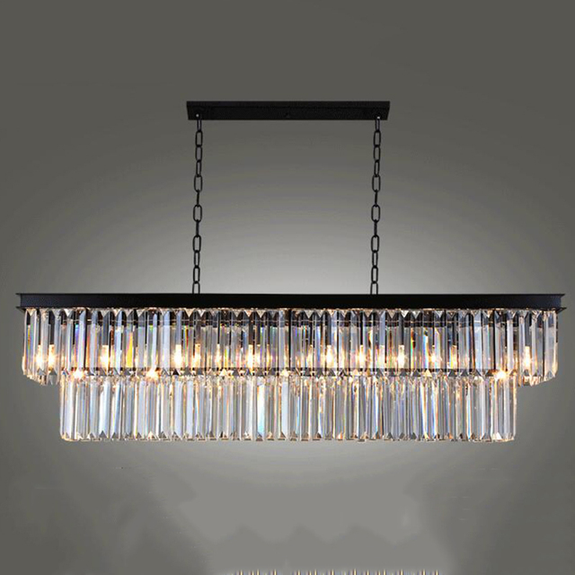 Best Price American Country Crystal Pendant Dining Room Creative Rectangular Lamp LED Lighting