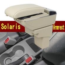 Para Hyundai Solaris caja De Almacenamiento apoyabrazos central caja del contenido del Almacén con portavasos cenicero USB interfaz