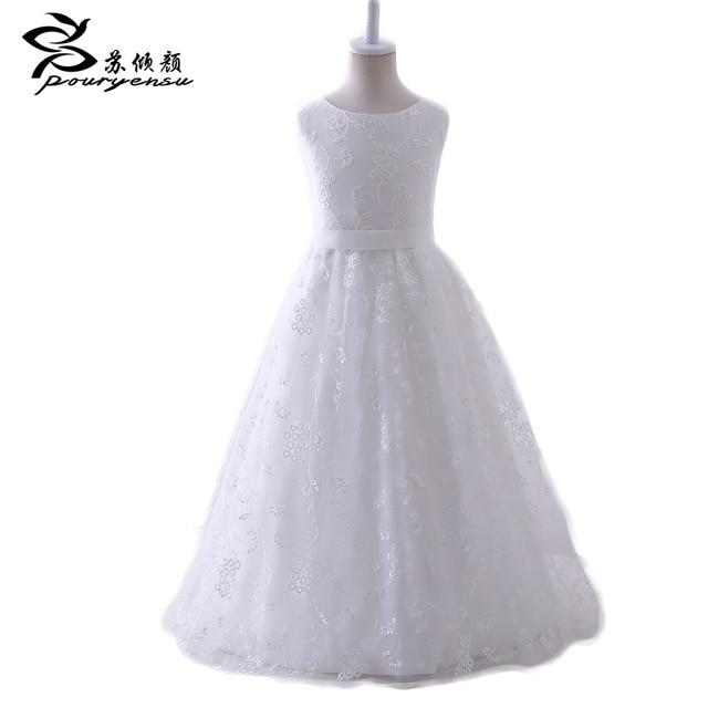 Flower Girl Dresses First Communion Dresses Girls Ritzee Gageant Kids Ball Evening Gowns Ivory Sleeveless Appliques Satin Lace