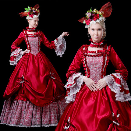 real masquerade red lace flare sleeve court medieval dress renaissance Gown queen Victorian /Marie/ Belle Ball/drama/ball gown