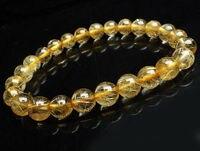 free shipping 7 mm Natural Brazil Gold Hair Rutilated Quartz Beads Wealth Bracelet AAA