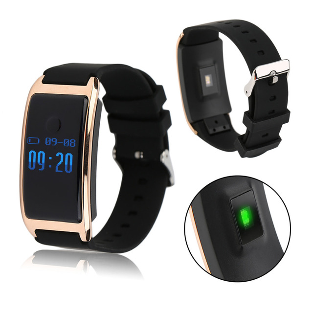 Waterproof IP68 0.66 Inch OLED Display Silicone Smart Bracelet Silicone Heart Rate Monitoring Smart Wristband For IOS Android