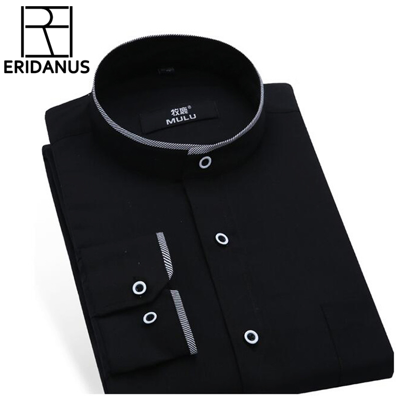 Mandarin Collar Men Shirt 2017 Fashion Brand Shirts Man långärmad Camisa Masculina Social Casual Slim Fit Chemise Homme X171