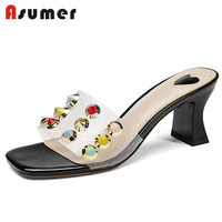 ASUMER NEW 2018 fashion PVC sandals women rivet square high heels transparent strap mules summer shoes casual party shoes