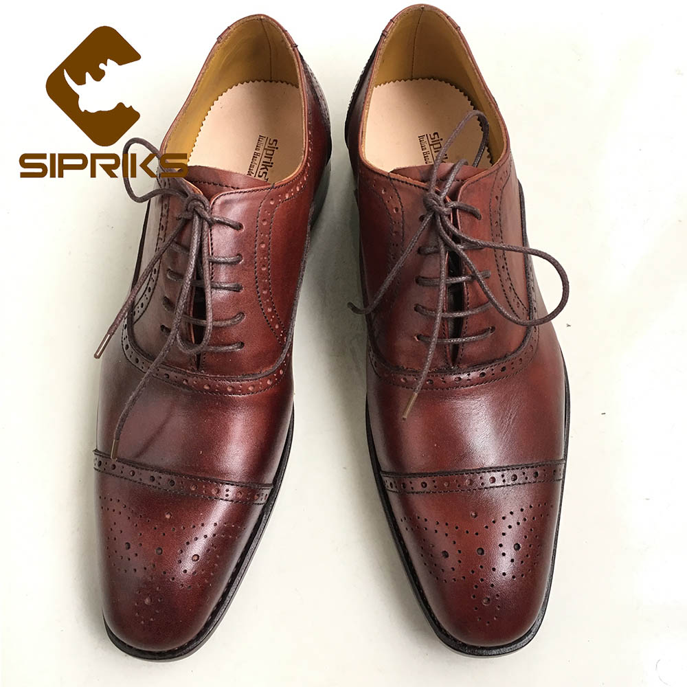 Detail Feedback Questions about SIPRIKS Italian Bespoke Goodyear Welted Shoes  Mens Brogue Oxford Dress Shoes Burgundy Leather Shoes For Men Black Formal  ... 97400da454b3
