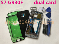 Original Full Housing Cover Case Battery Cover Middle Frame+Top frame glue sticker For Samsung Galaxy S7 G930 G930F dual card