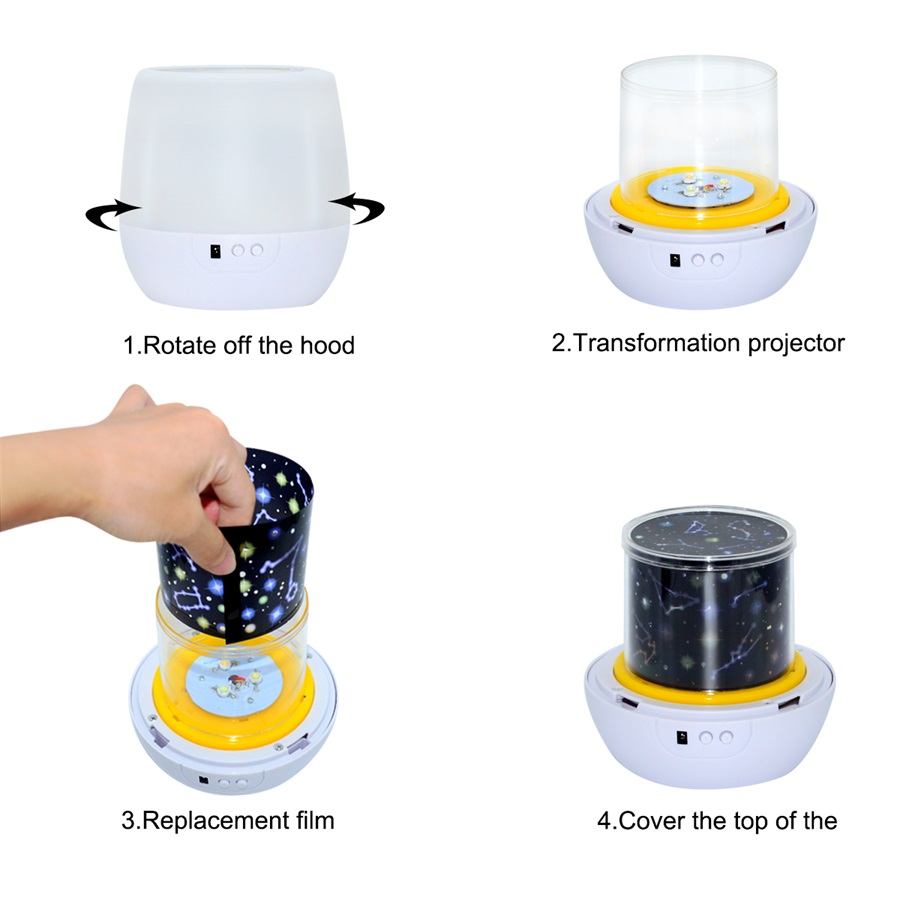 Magical Starry Sky LED Projector Night Light Starry Moon Projector Night Lamp Colorful Rotary Lamp for Baby Children Gift
