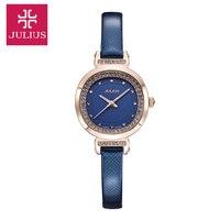 Топ Julius Леди женщин Наручные Часы Элегантный Rhinestone Моды Часы Класса Люкс Дизайн Одежды Кожаный Браслет Девушка Подарок На День Рождения