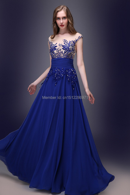 2015 Elegant New Designer Fast Shipping A Line Royal Blue Chiffon ...