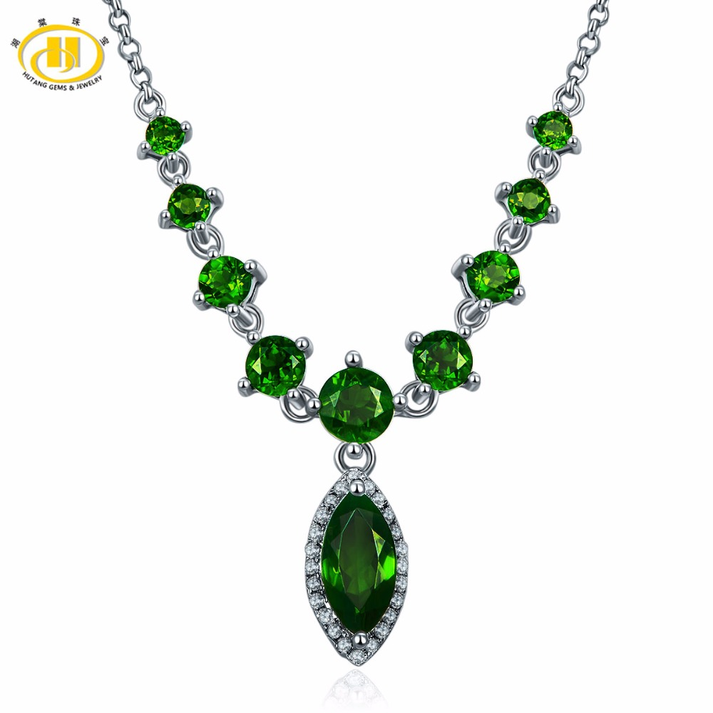 Hutang Natural Chrome Diopside Necklace Solid 925 Sterling Silver Gemstone Fine Fashion Jewelry For Womens Gift  NEW 18 InchesHutang Natural Chrome Diopside Necklace Solid 925 Sterling Silver Gemstone Fine Fashion Jewelry For Womens Gift  NEW 18 Inches