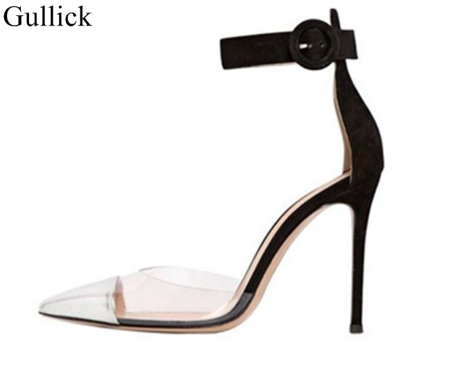 Concise Women Runway Shoes PVC Transparent Pumps Pointed Toe High Heel Pumps Buckle Strap Silver and Black Patchwork Dress Shoes women classical design silver pointed toe transparent pumps ankle buckle design 12cm high heels formal dress shoes