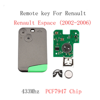 2Buttons PCF7947 Chip Smart Remote Car Key For Renault Espace 2002 2003 2004 2005 2006 433Mhz Car key