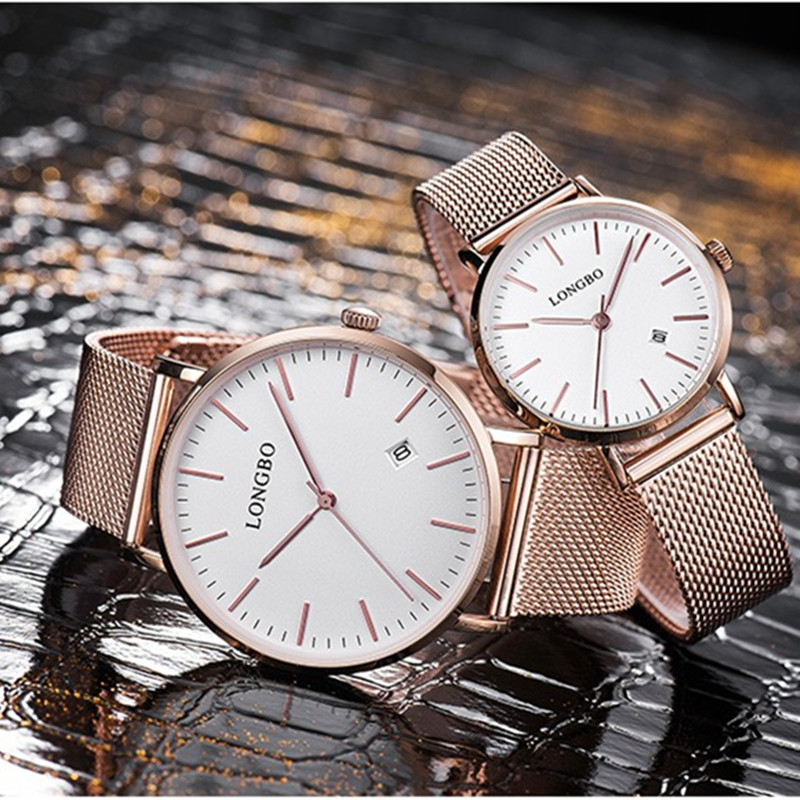 LONGBO Luxury Lovers Gift Clock Couple Watch Men Date Day Waterproof Women Gold Mesh Strap Quartz Wristwatch Relogio Masculine