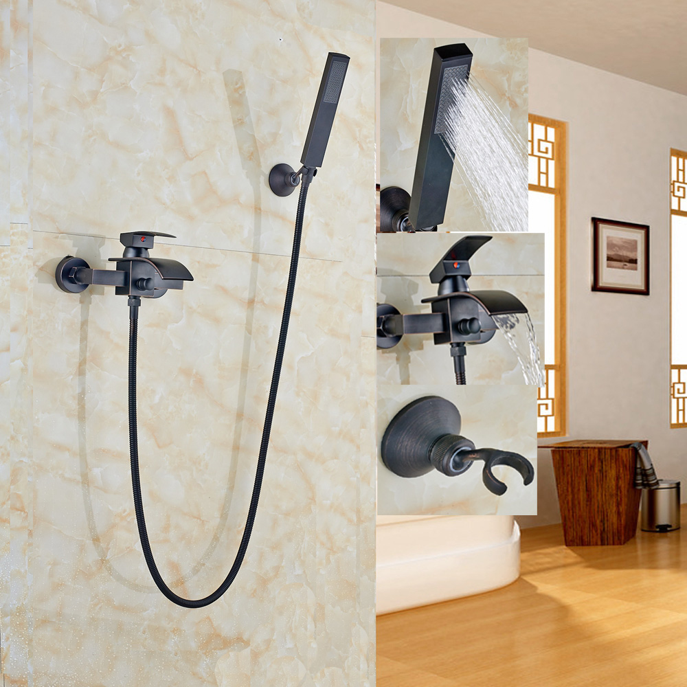 Oil Rubbed Bronze Bathtub Faucet ABS Plastic Hand Shower Spray Wall ...