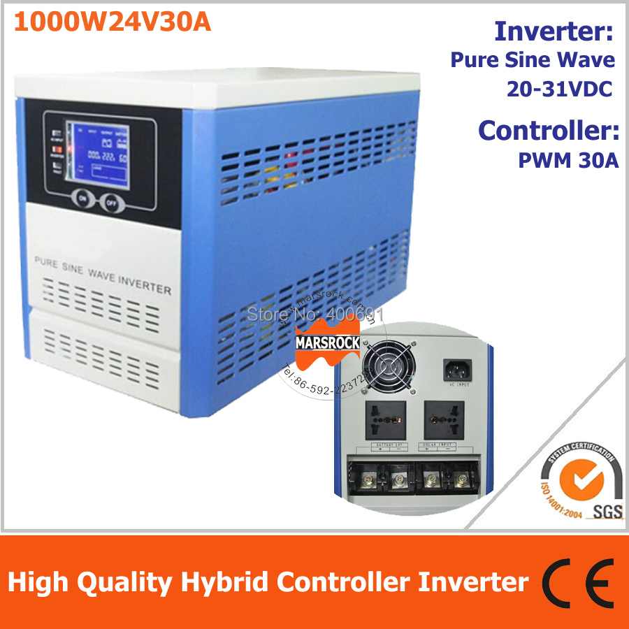 Hybrid controller inverter for off grid solar power system, 1000W 24V pure sine wave inverter integrated with 30A PWM controller 10pcs lot isl6563cr isl6563 6563cr two phase multiphase buck pwm controller with integrated mosfet drivers