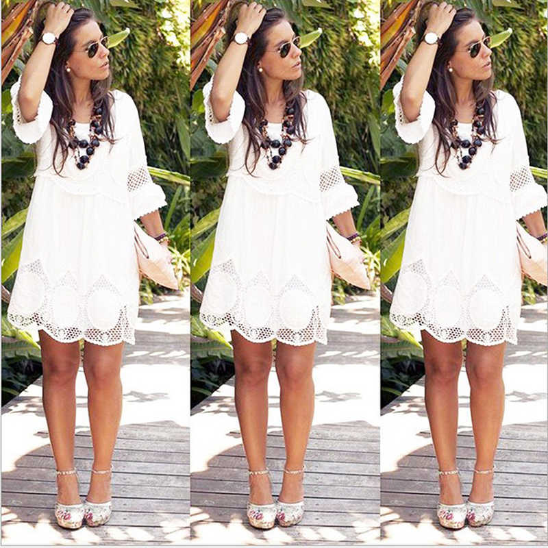 White Vacation Weekend Bohemian Beach Lace Hollow Out Flounce Sleeve Mini Loose Hem Dress Summer Women Dress Plus Size 6XL